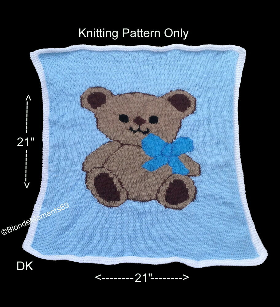 Knitting Patterns For Shawls And Wraps : ***Knitting Pattern*** Teddy Bear Pram Blanket Knitting Pattern eBay