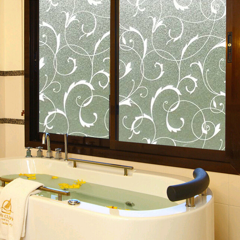 Decorative Floral Glass Shower Door Cover Flower Window Film Glass Privacy Adhesive Home Decor EBay