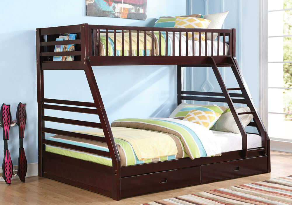 jason youth kid bedroom twin xl over queen bunk bed bottom drawers wood espresso ebay. Black Bedroom Furniture Sets. Home Design Ideas
