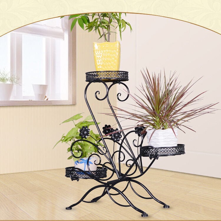 73c39608adf5 Details about 3 TIER Black Wrought Iron Floor-Standing Pot Plant Stand  Balcony Study Planter