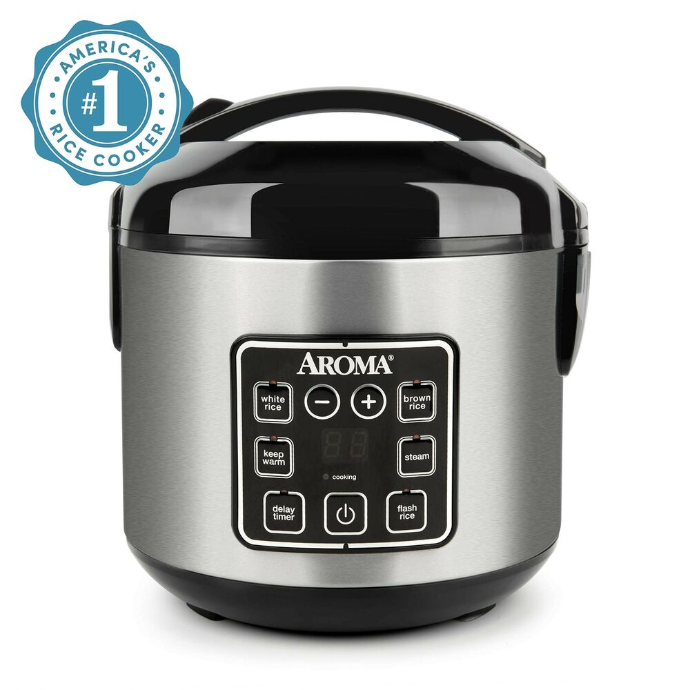 Aroma 8-Cup (Cooked) Digital Rice Cooker and Food Steamer ...
