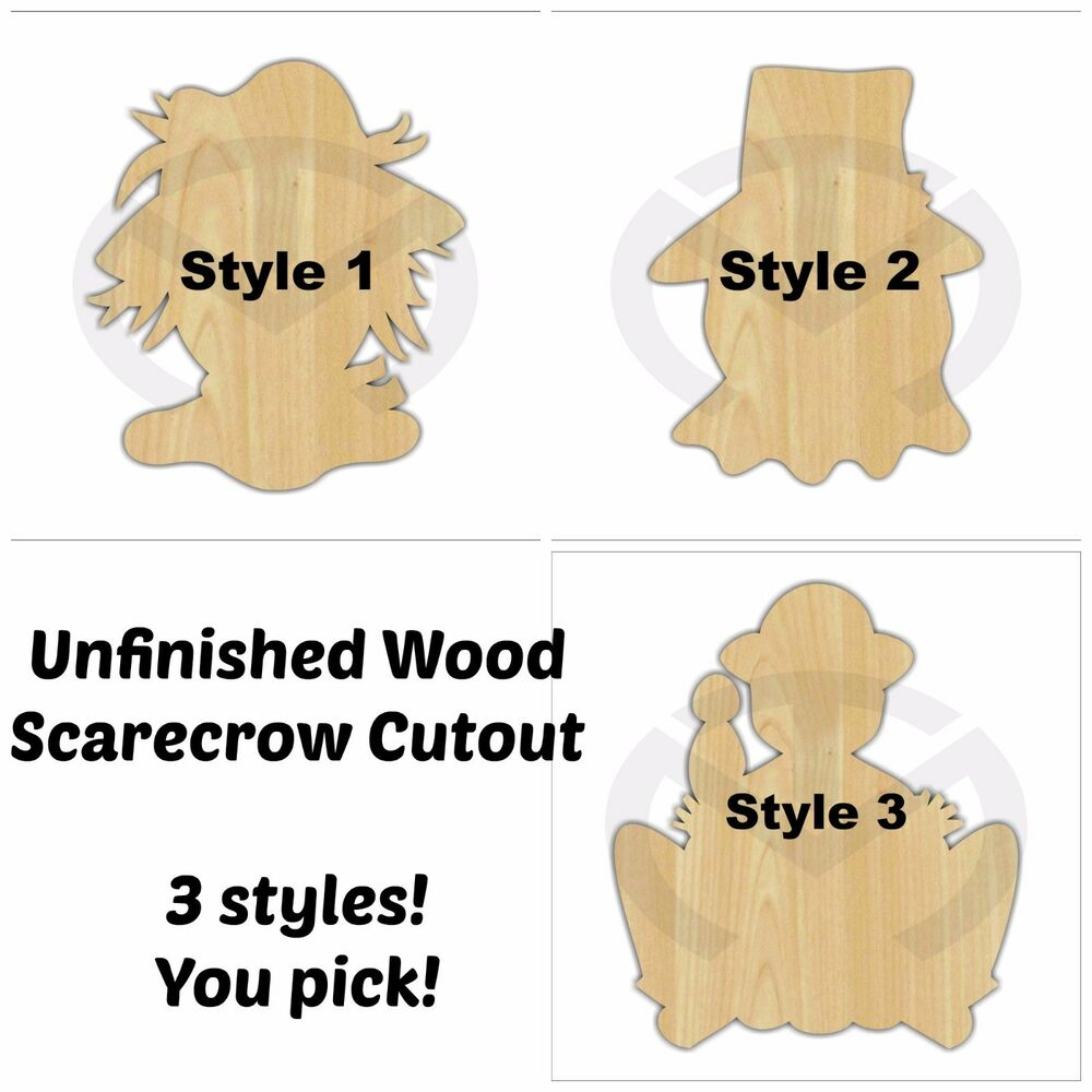 Unfinished Wood Scarecrow Laser Cutout Wreath Accent