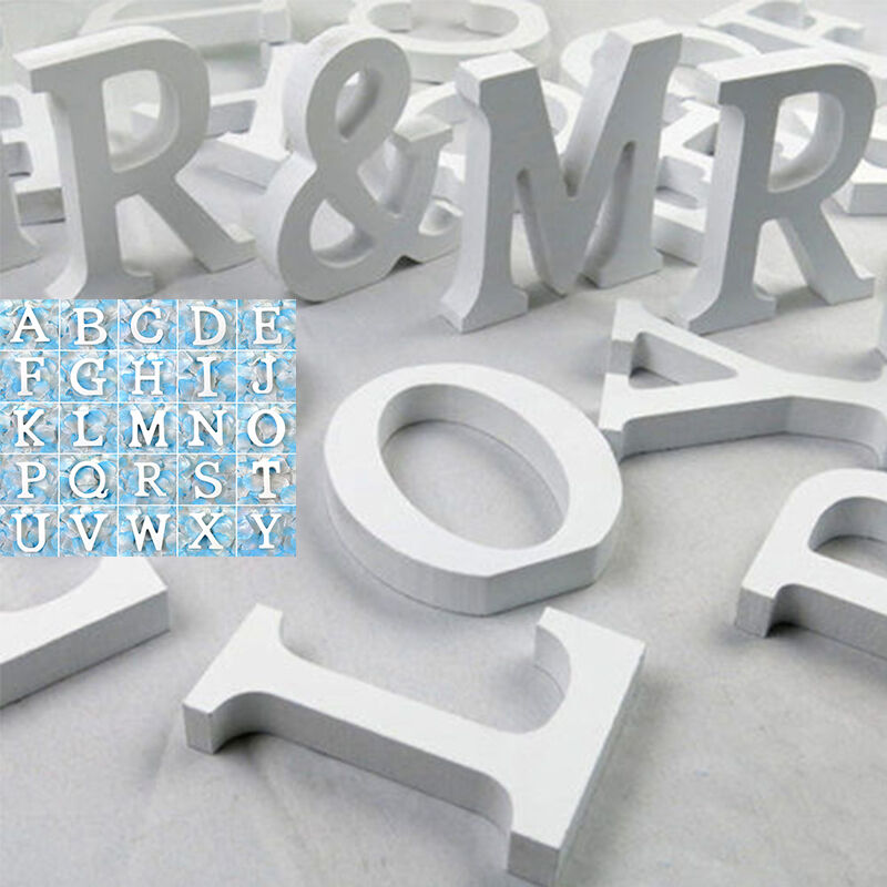 Decorative White Wood Wooden Freestanding 26 Letters ...