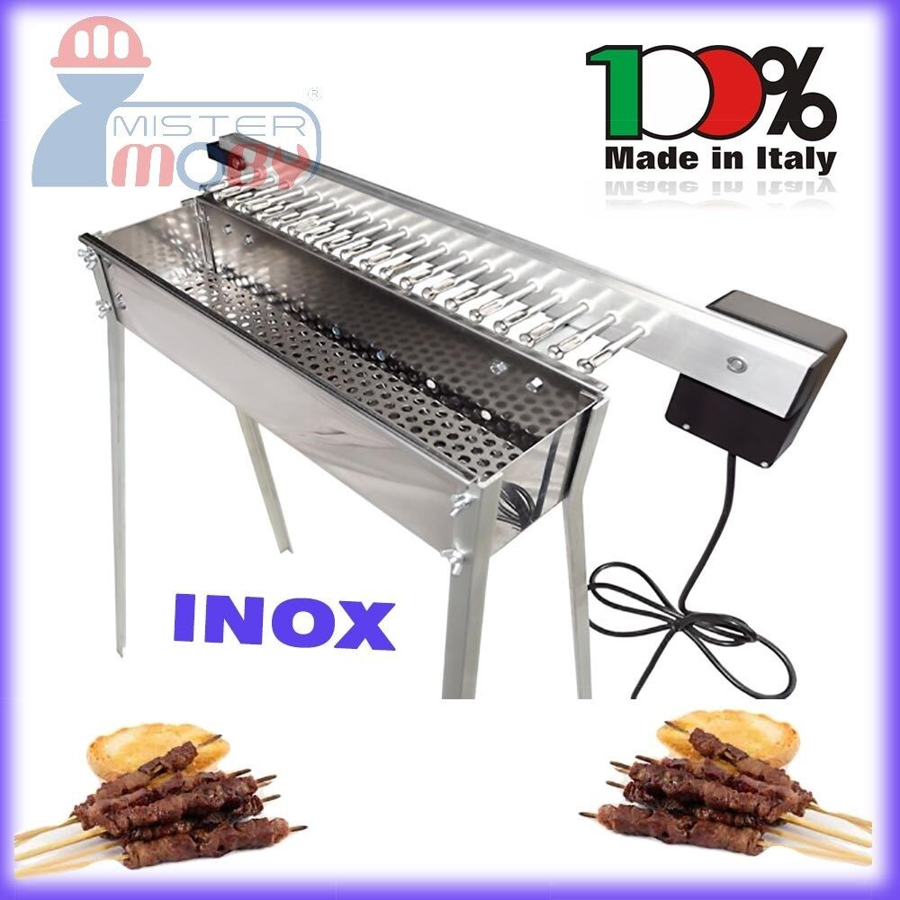 tecnoroast kebab barbecue charcoal inox grill electric kit 20 skewers rollers ebay. Black Bedroom Furniture Sets. Home Design Ideas