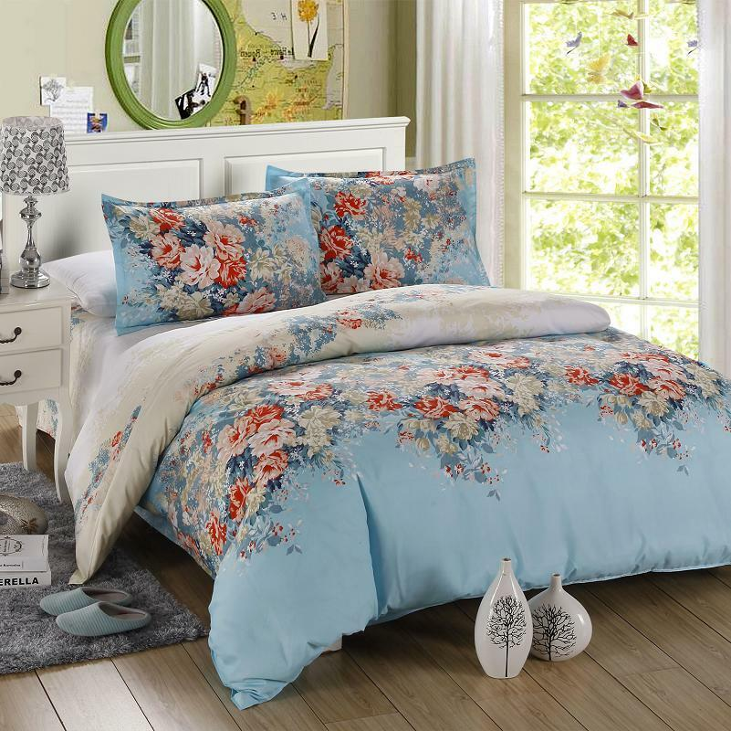 Flower Blue Singl Double Queen King Size Bed Set