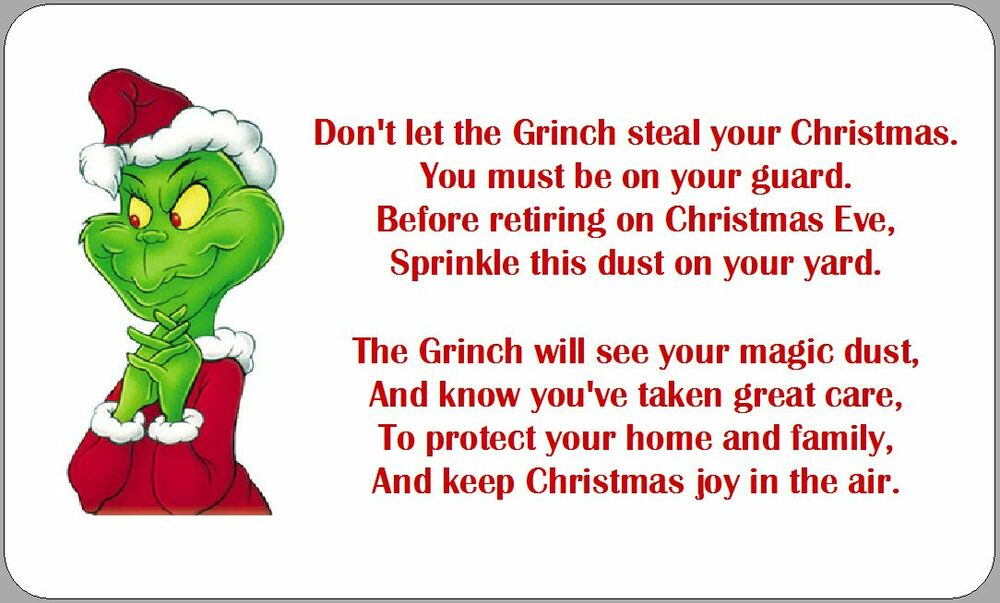 GRINCH DUST POEM LABELS STICKERS CHRISTMAS NOVELTY FUN ...
