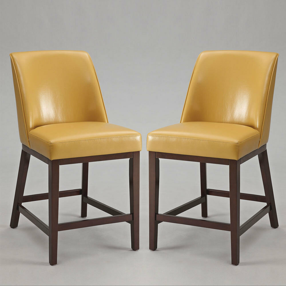 Valor set of 2 counter height bar stools chairs yellow pu Counter seating