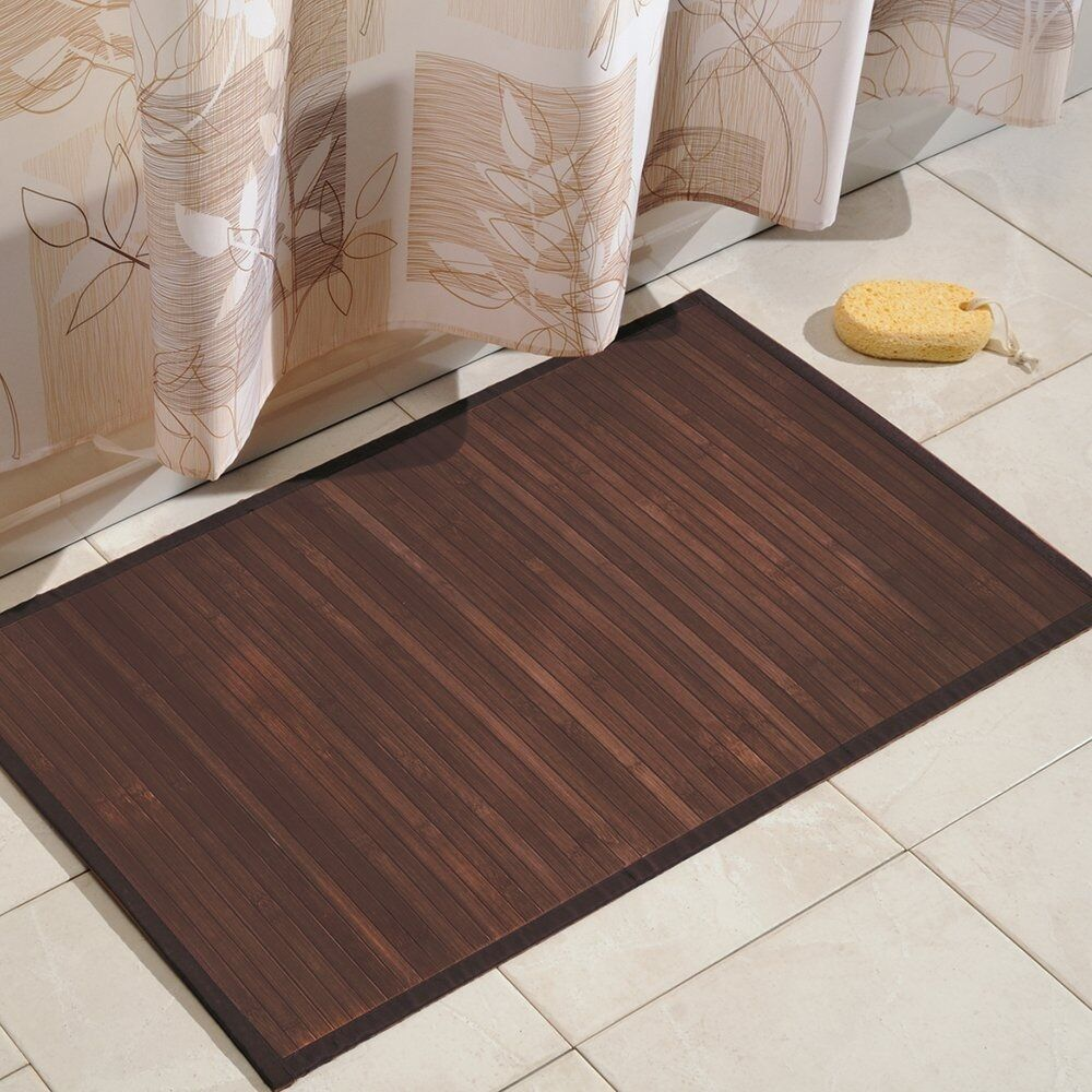 Bamboo floor mat bathroom rug wood natural mocha non skid for Bathroom decor rugs