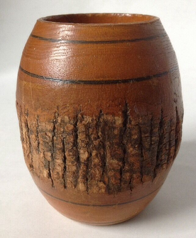 Vintage Turned Wood Vase With Exposed Natural Bark Wooden 4 75 Quot Ebay