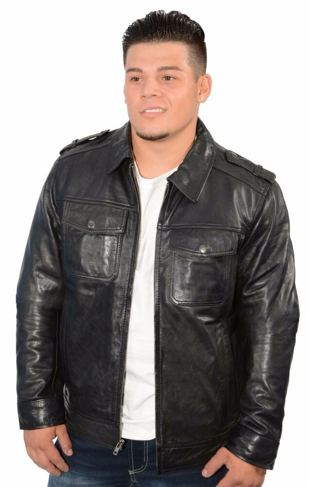 Mens black urbanite casual leather jacket w shirt style for Mens shirt collar styles