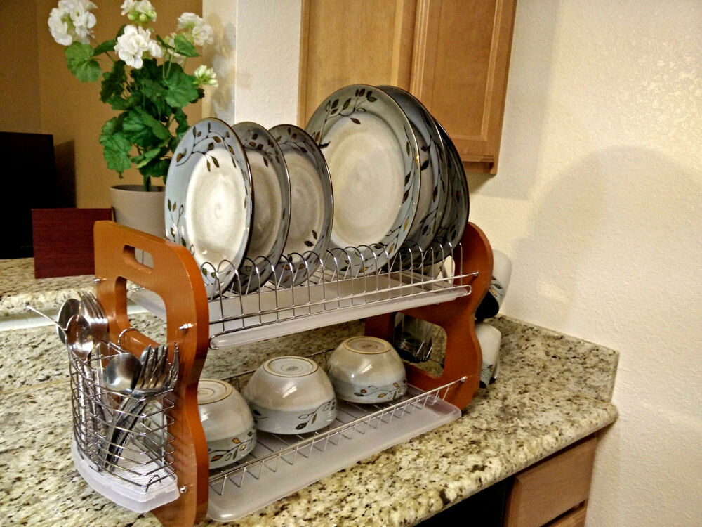 2 Tier Stainless Steel Wood Dish Bowl Cup Mug Rack Kitchen Drainer
