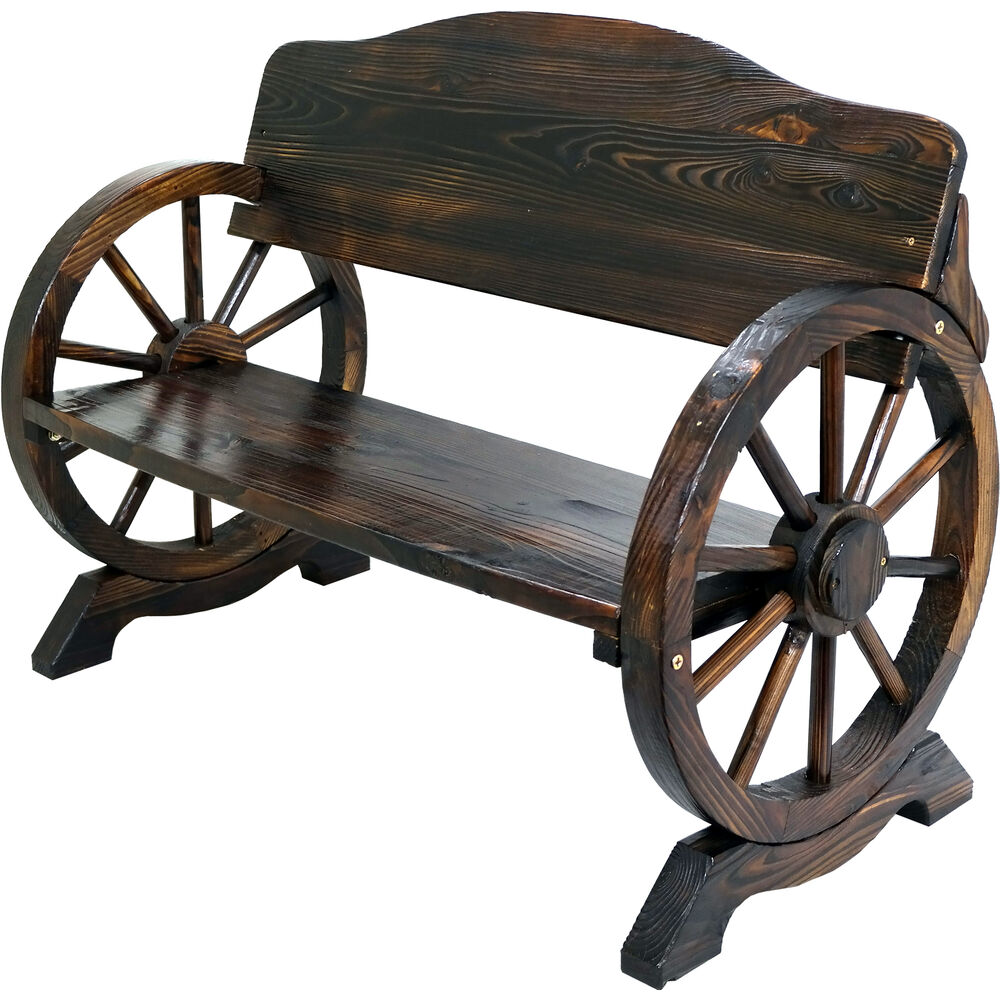 Wooden Garden Bench Seat Burnt Wood Outdoor Park Patio 2 3 Seat Wagon Cart Wheel Ebay