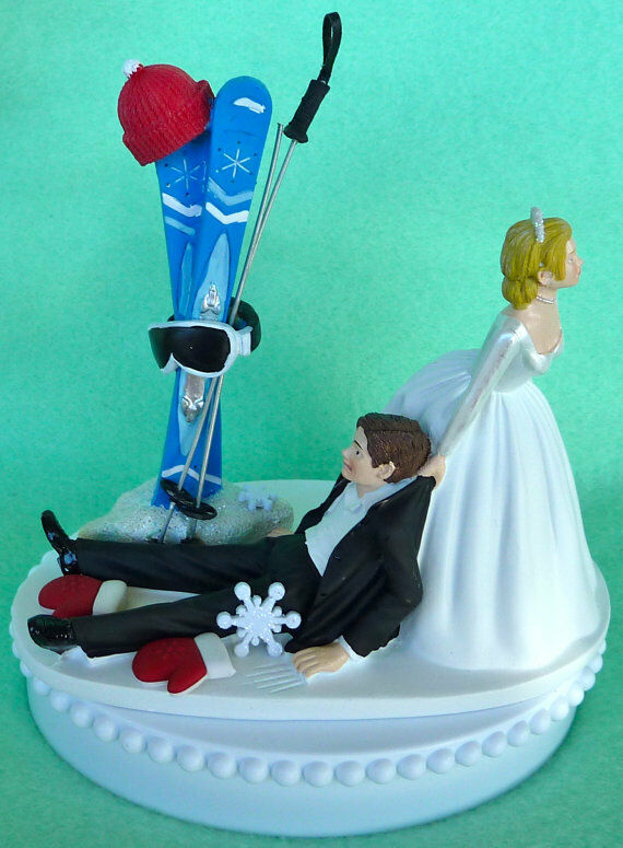 sports wedding cake toppers wedding cake topper skiing groom themed ski winter snow 7624