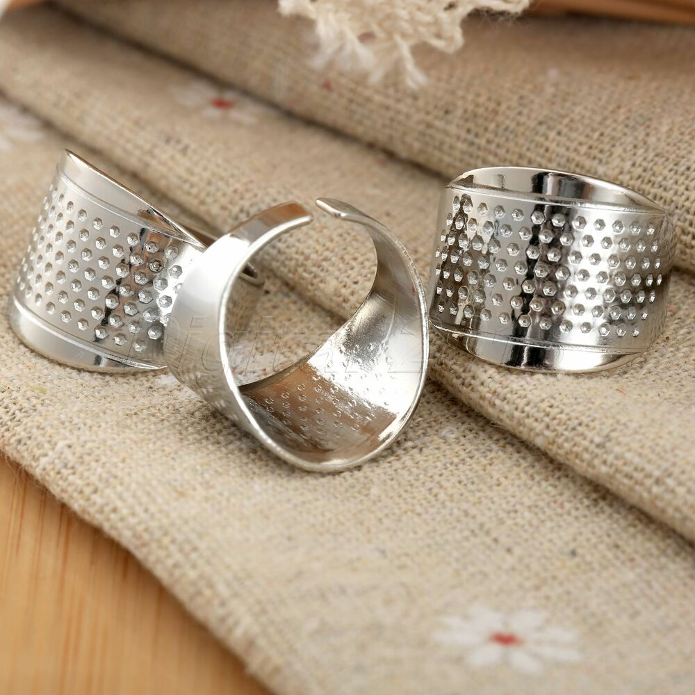 3pcs adjustable sliver ring stitch finger thimble sewing for 3 inch rings for crafts