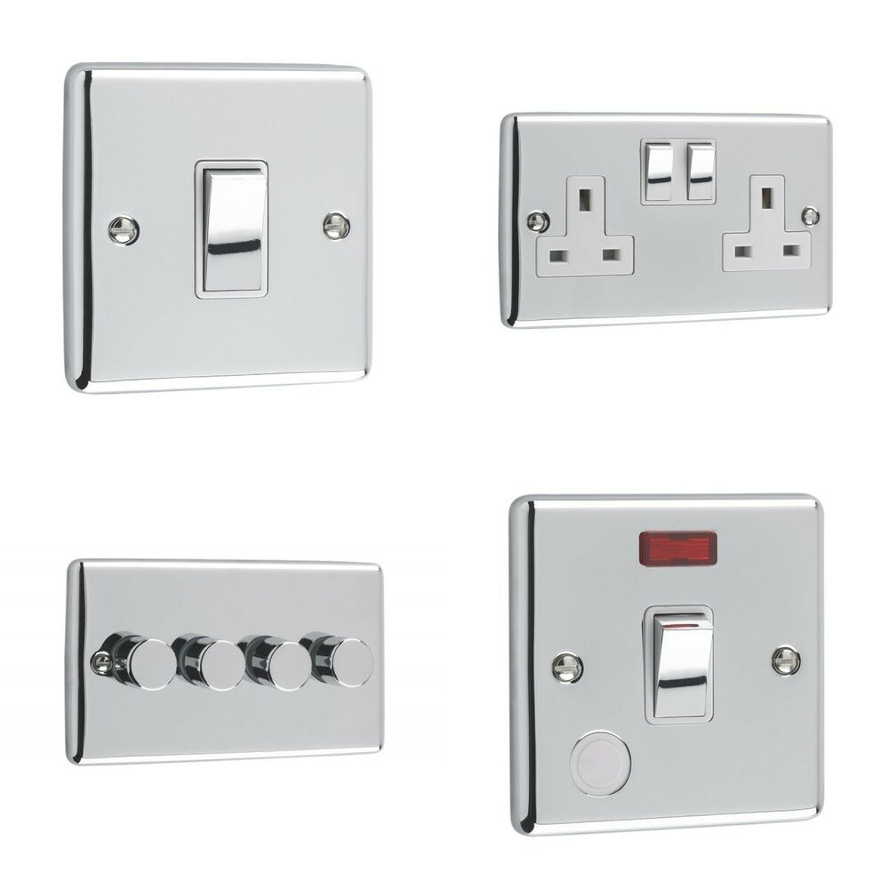 Polished Chrome Sockets And Switches White