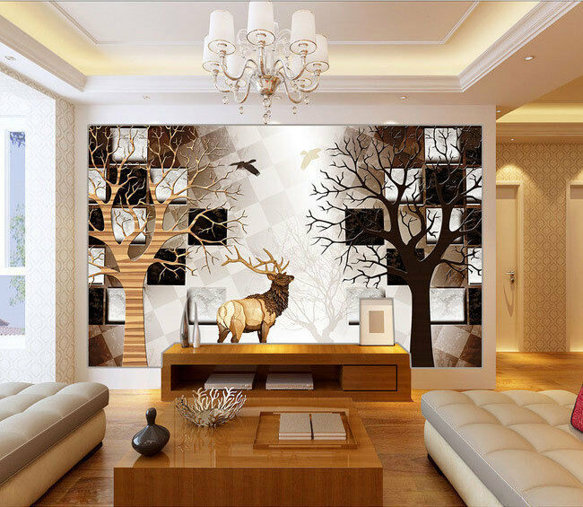 Woods deer forest 3d full wall mural photo wallpaper print for Home wallpaper ebay