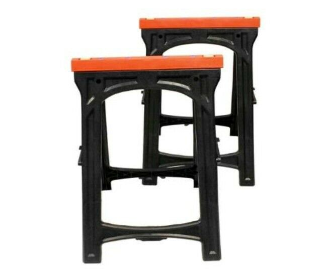 Folding plastic sawhorse 2 piece workbench workhorse table for Table design tool