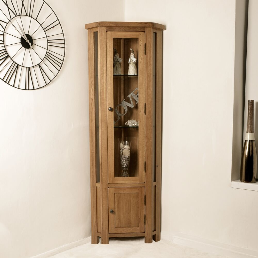 Rustic solid oak display cabinet glazed corner cupboard for Display home furniture