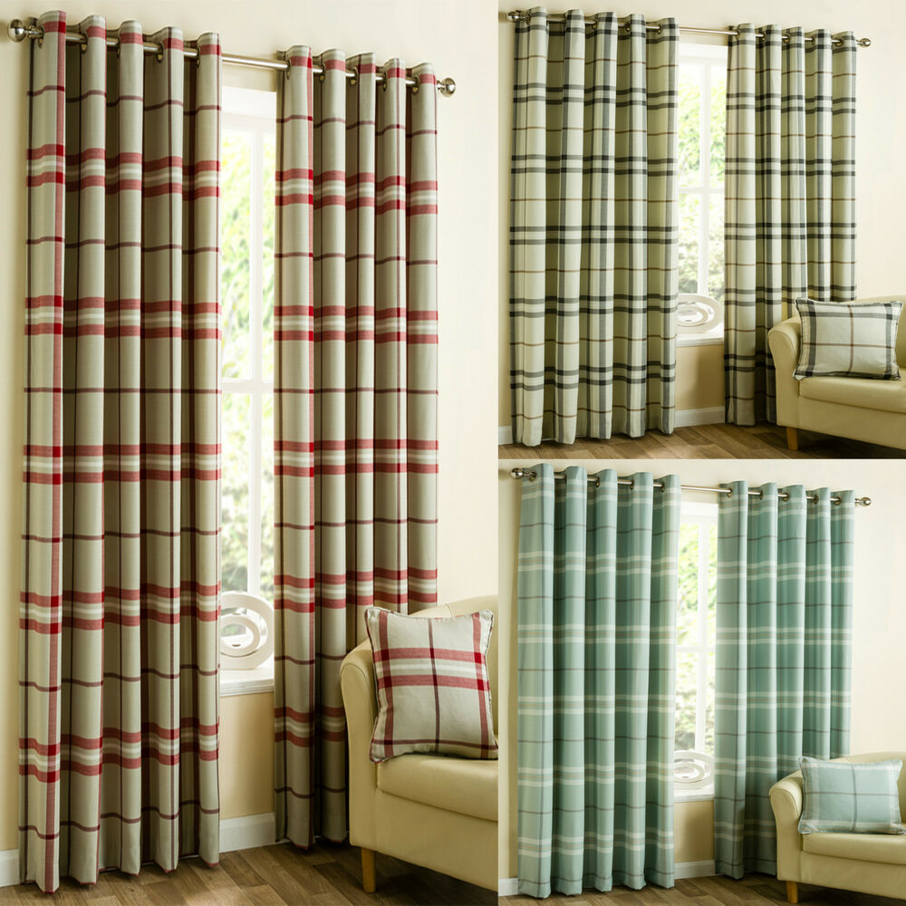 Lomond Tartan Check Ready Made Eyelet Curtains Red