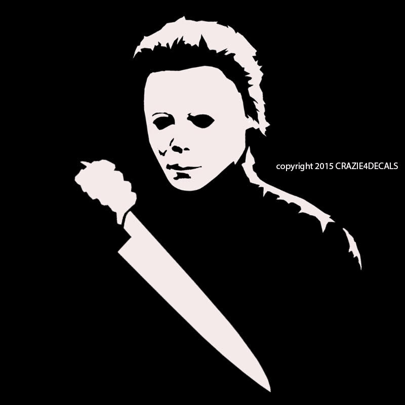 """Chucky Clipart Black And White: 7"""" Michael Myers Halloween Horror Vinyl Decal Sticker"""