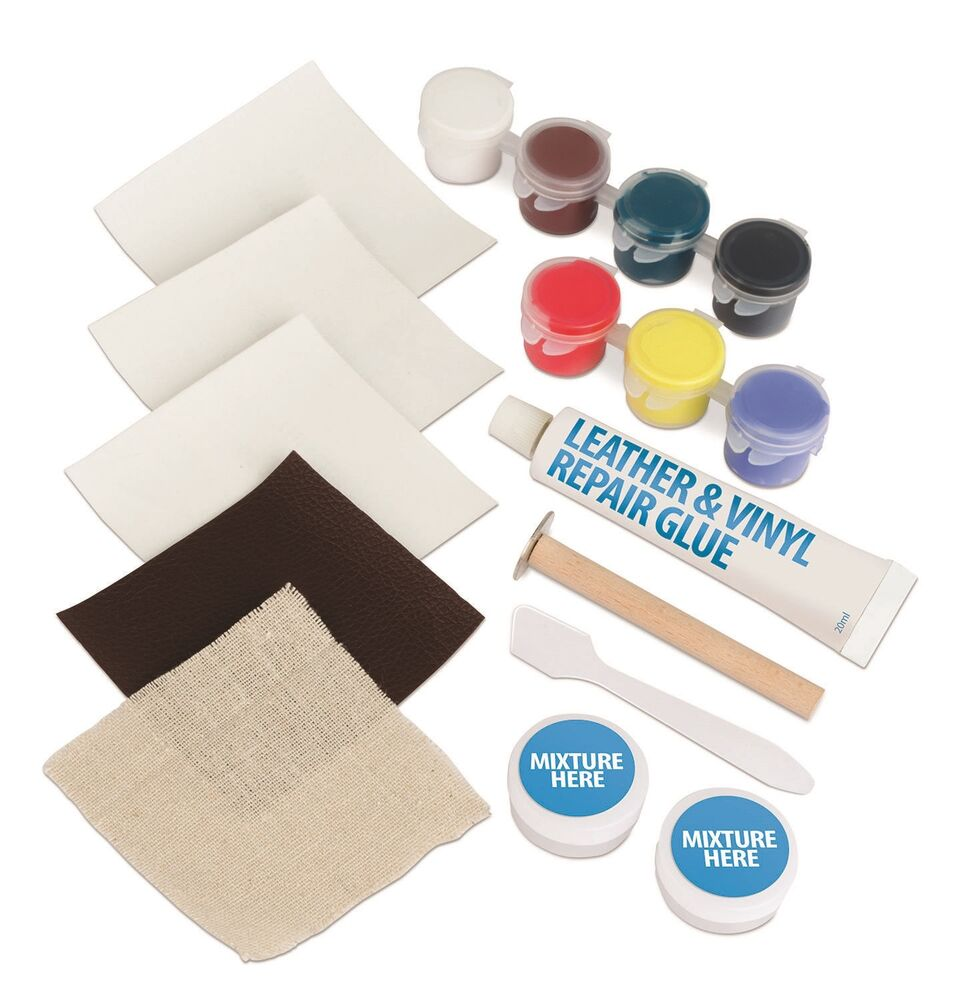 17pc leather vinyl repair kit fix rips burns holes car boat seat color couch ebay. Black Bedroom Furniture Sets. Home Design Ideas