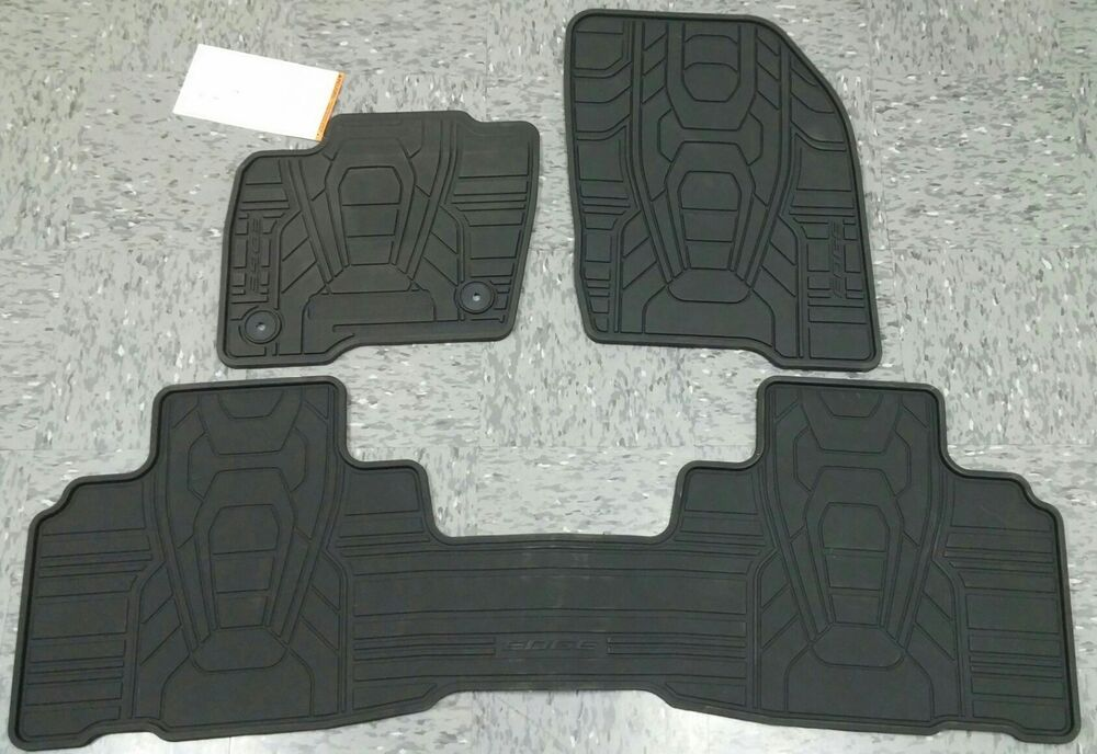 Oem 2015 2017 Ford Edge All Weather Floor Mats Blk 3 Pc