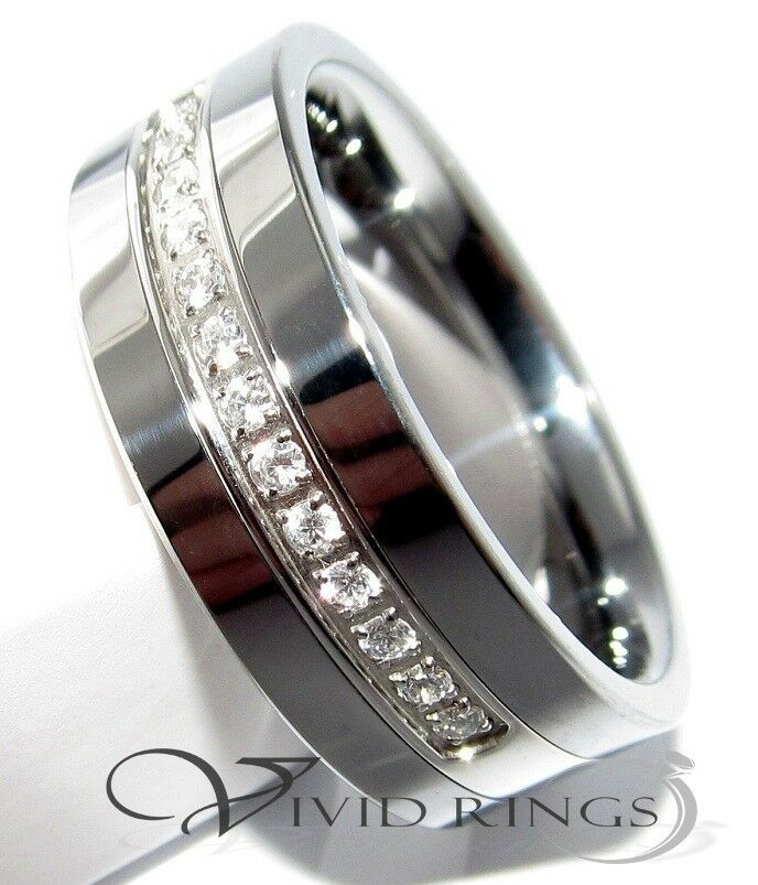 tungsten carbide wedding ring cz mens band 8mm size 7 5 to 14 5 ebay
