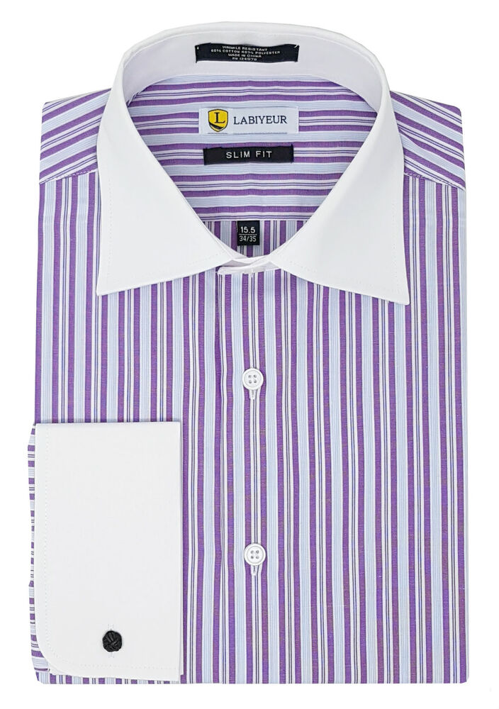 Labiyeur slim fit purple stripes white french cuff dress White french cuff shirt slim fit