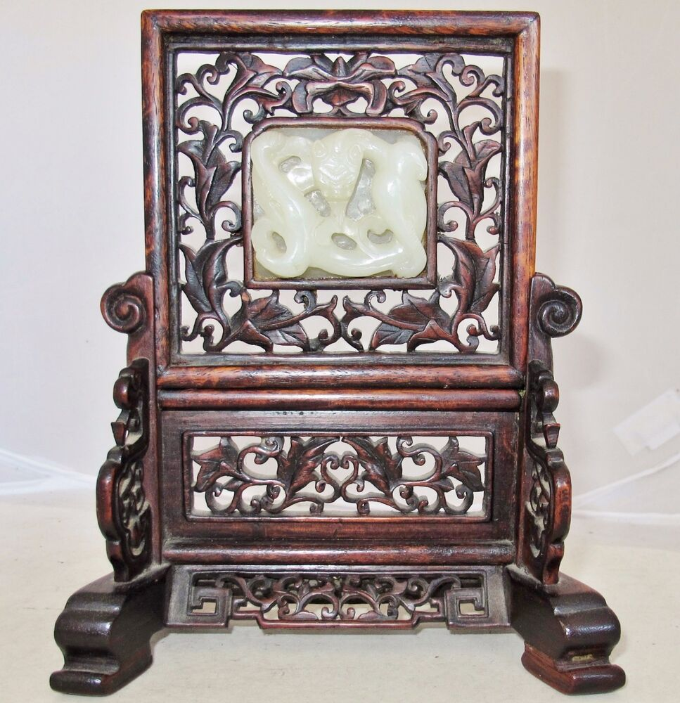 Quot antique chinese wood table screen w carved