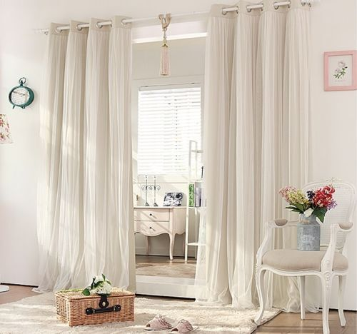 Blockout eyelet curtains lounge bedroom bridal lace girls - Beige and white bedroom curtains ...