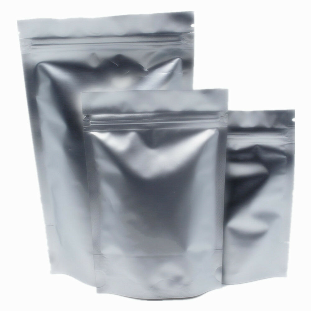 Silver Aluminum Foil Zip Lock Mylar Bag Smell Proof