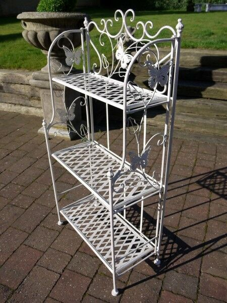 Bakers Rack Antique White Etagere 3 Tier Stand Shelves