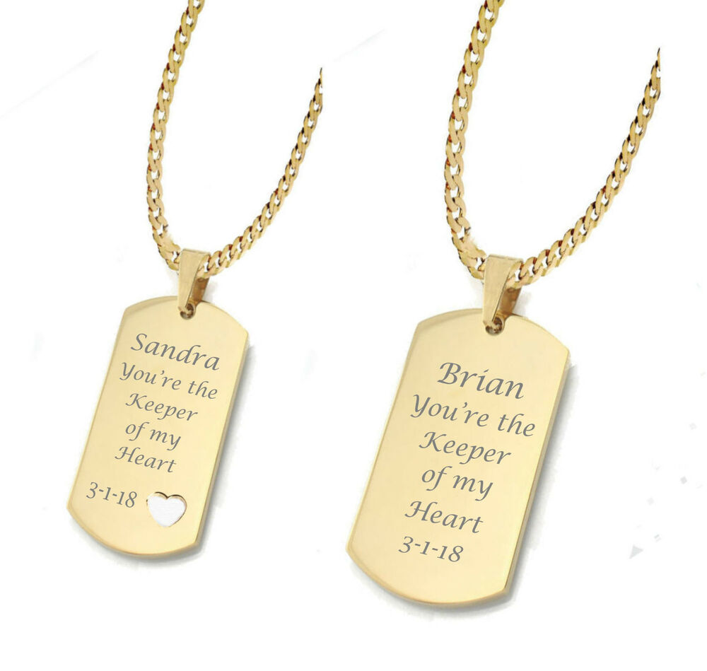 Personalized Gold Dog Tag Necklace Set Custom Engraved