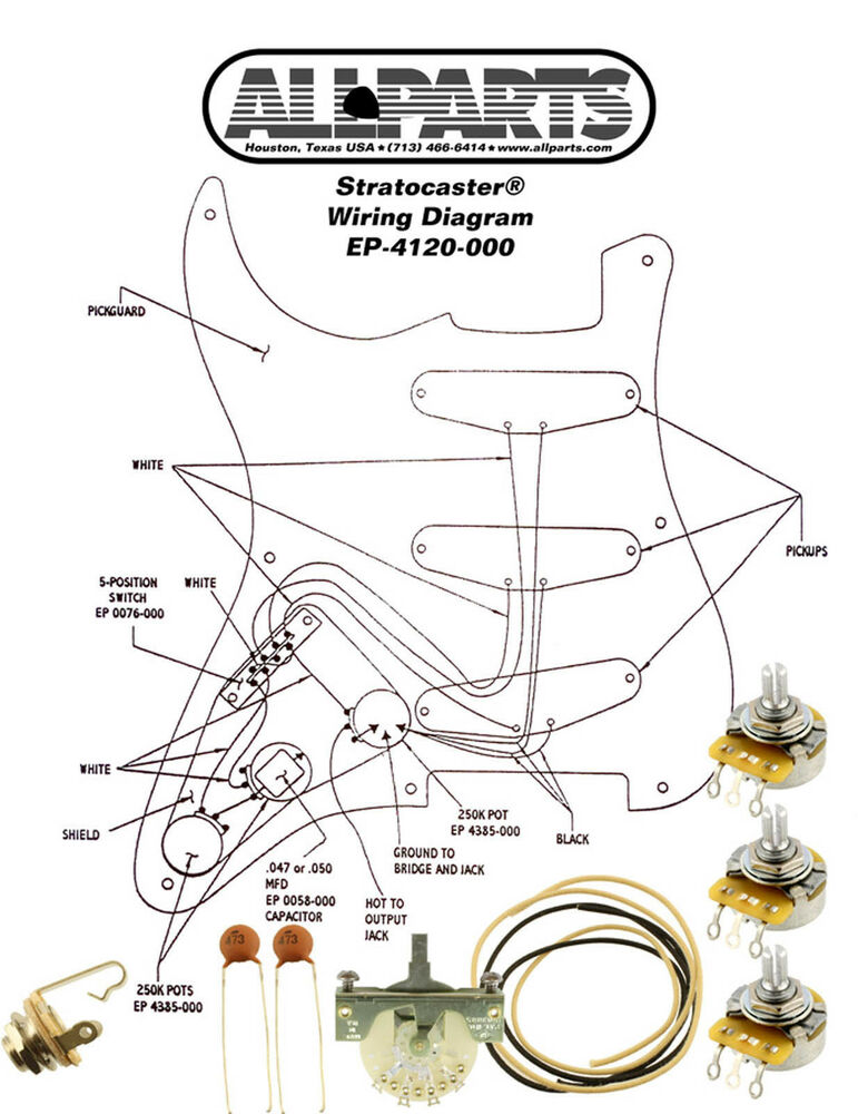 wiring kit fender stratocaster strat complete with. Black Bedroom Furniture Sets. Home Design Ideas