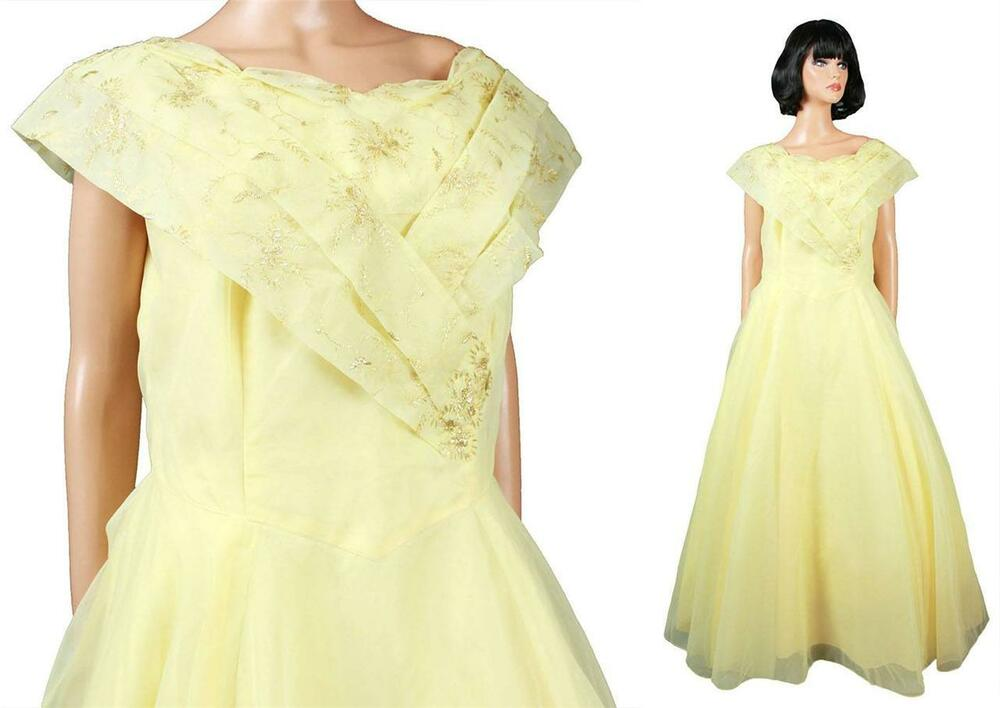 50s Prom Dress XL Vintage Long Yellow Chiffon Gold