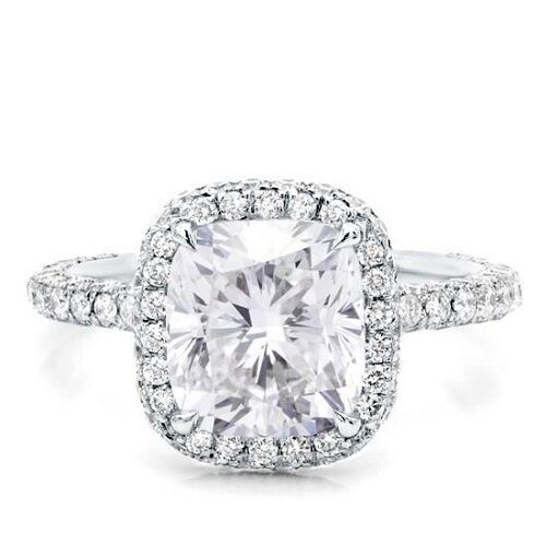 Halo Micro Pave 3.70 Ct GIA Certified Cushion Cut Diamond ...