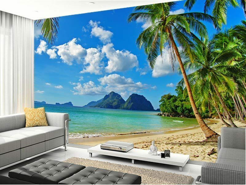 3d beach palm tree tropical full wall mural photo for Beach mural wallpaper