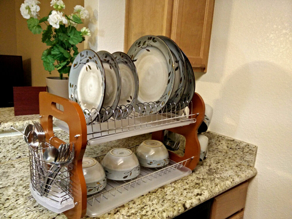 2 tier stainless steel wooden dish bowl cup rack kitchen drainer dryer tray ebay. Black Bedroom Furniture Sets. Home Design Ideas