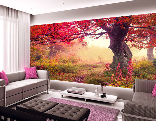 3d fairy red leaves tree full wall mural photo wallpaper for Digital print wallpaper mural