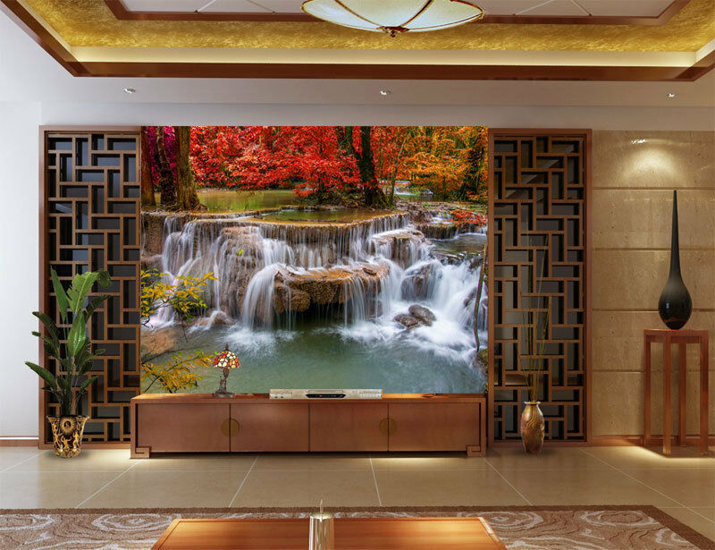 3d waterfalls red leaves full wall mural photo wallpaper for Home wallpaper ebay