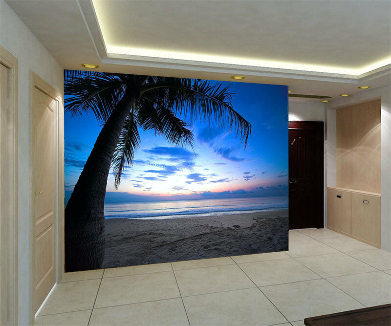 3d caribbean palma trees full wall mural photo wallpaper for Home wallpaper ebay
