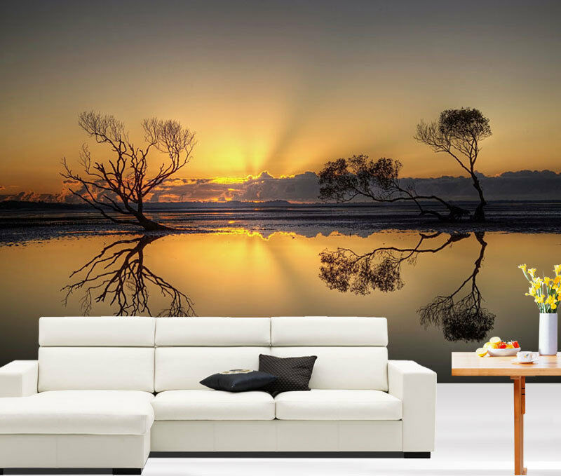 3d beautiful sunset lake full wall mural photo wallpaper for Beautiful wall mural