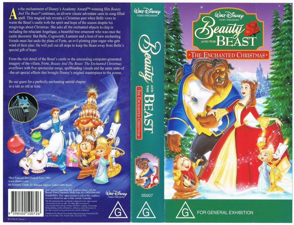 disney beauty and the beast the enchanted christmas rare vhs tape ebay. Black Bedroom Furniture Sets. Home Design Ideas