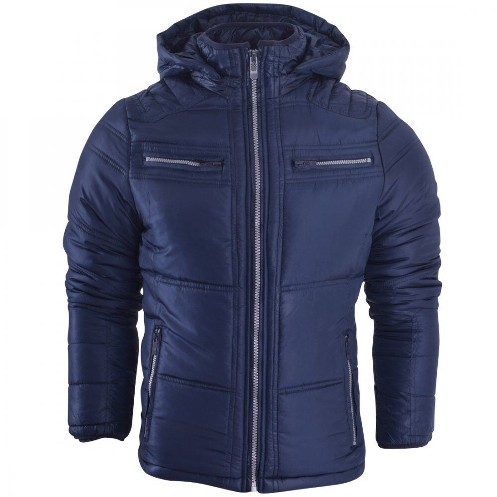 Mens Hooded Puffer Jacket Quilted Bomber Padded Winter ...