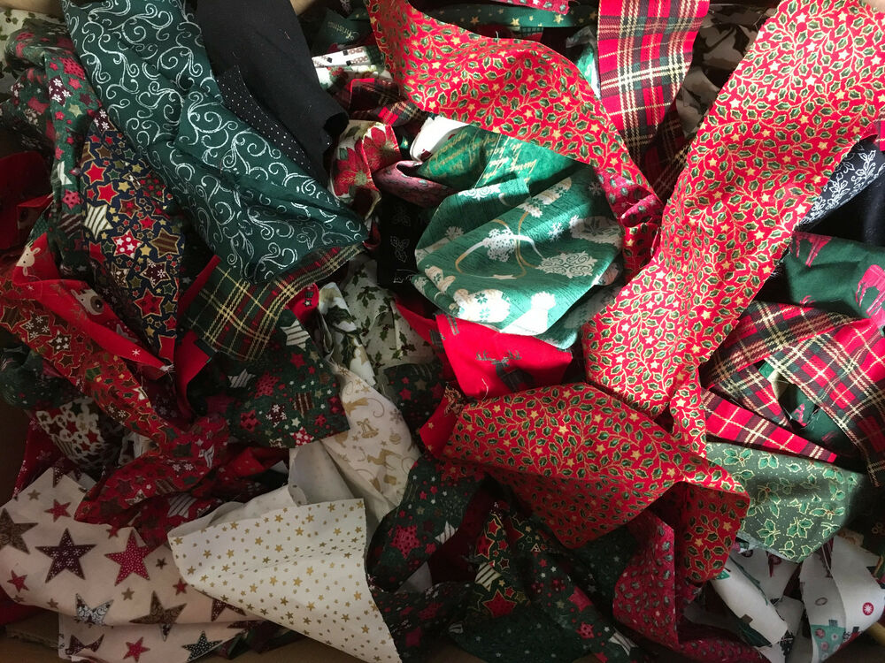 Christmas 100 cotton fabric rag wreaths festive crafts for Craft wreaths for sale