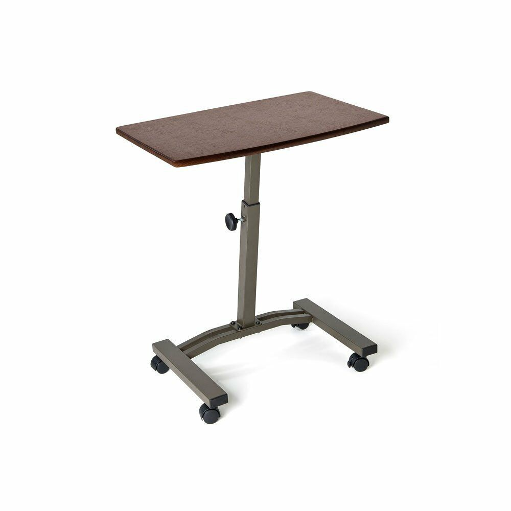 Rolling Laptop Table Adjustable Cart Tray Wheels Desk Usb