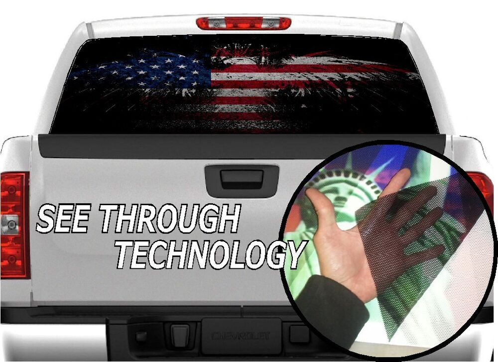 P American Flag Eagle Rear Window Tint Graphic Decal F Ram - Chevy truck stickers for back window