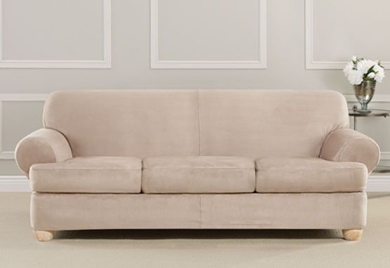 ultimate heavyweight stretch suede sofa 3 t cushion slipcover surefit cement ebay. Black Bedroom Furniture Sets. Home Design Ideas
