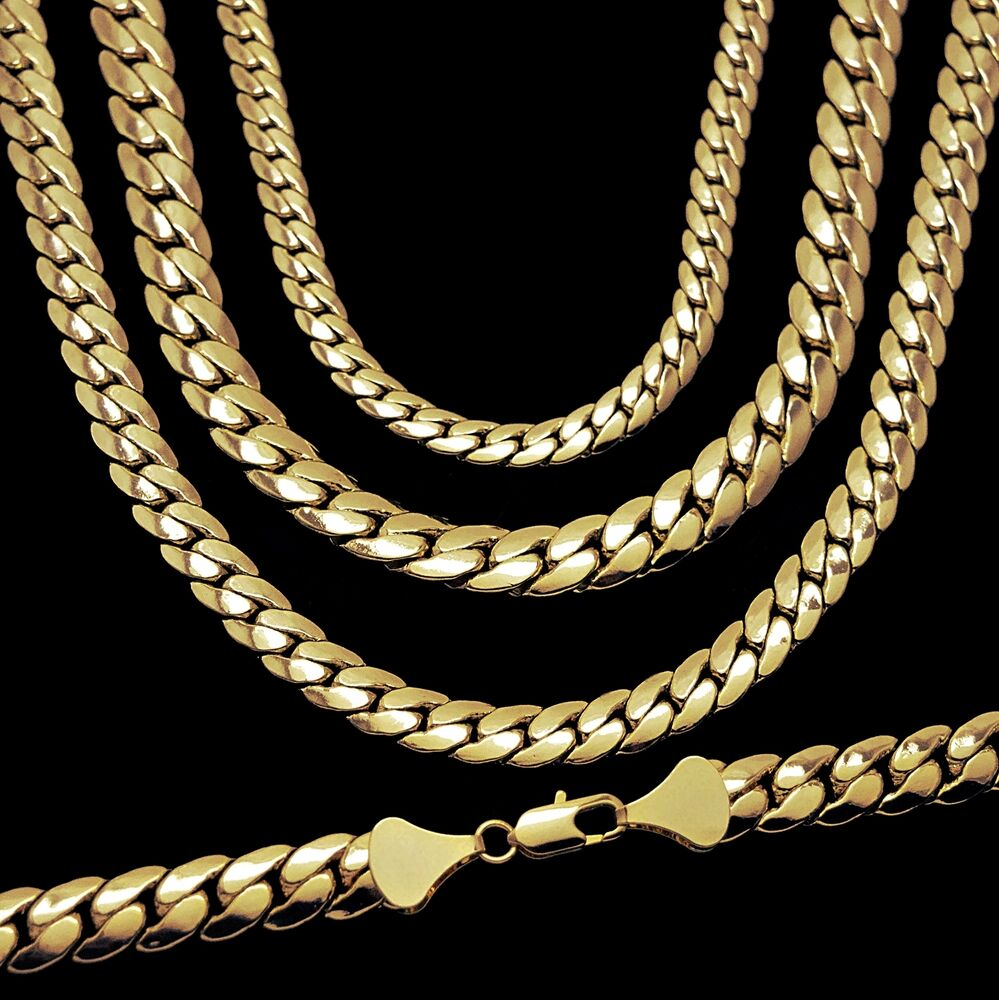 miami cuban link chain 14k yellow gold plated 5 12 mm wide. Black Bedroom Furniture Sets. Home Design Ideas