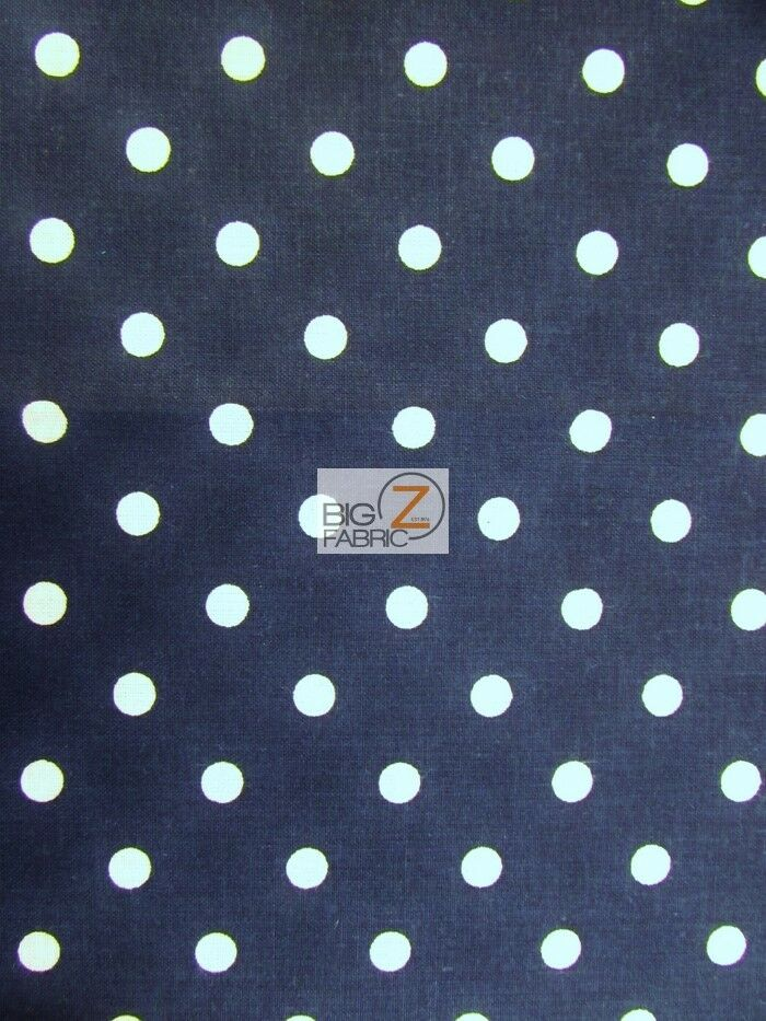 100 Cotton Quilt Polka Dot Printed Fabric Navy White